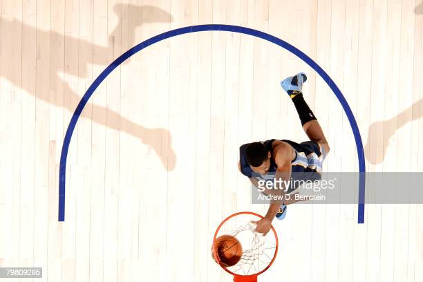 Rudy Gay of the Memphis Grizzlies competes during the Sprite Slam Dunk Contest part of 2008 NBA AllStar Weekend at the New Orleans Arena on February...