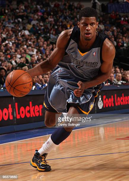 Rudy Gay of the Memphis Grizzlies drives against the Dallas Mavericks during a game at the American Airlines Center on December 26, 2009 in Dallas,...