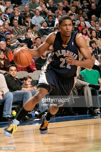 Rudy Gay of the Memphis Grizzlies drives the ball to the basket during the game against the Dallas Mavericks on December 23 2008 at American Airlines...