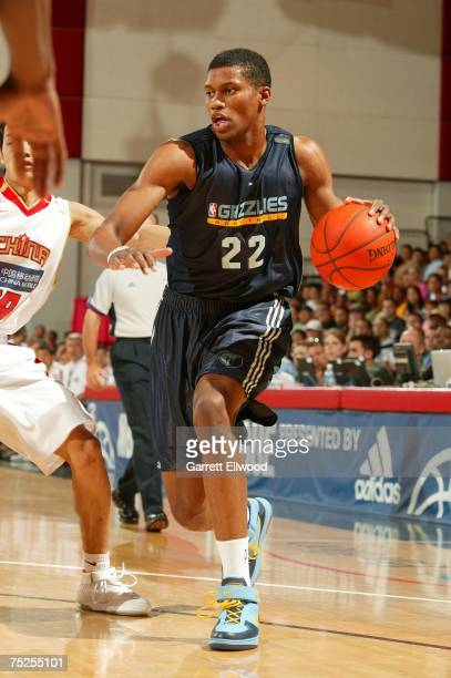 Rudy Gay of the Memphis Grizzlies drives to the hoop against the Chinese National Team during Game 3 of the NBA Summer League at the Cox Pavilion...