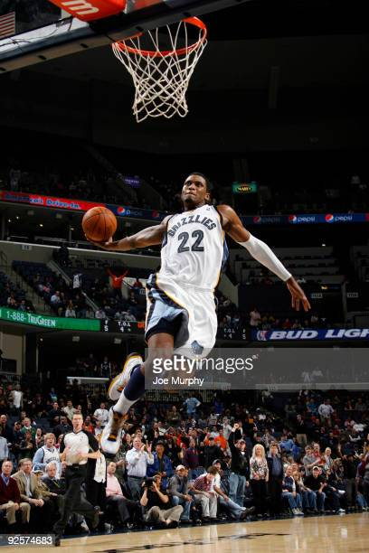 Rudy Gay of the Memphis Grizzlies dunks against the Toronto Raptors on October 30, 2009 at FedExForum in Memphis, Tennessee. NOTE TO USER: User...