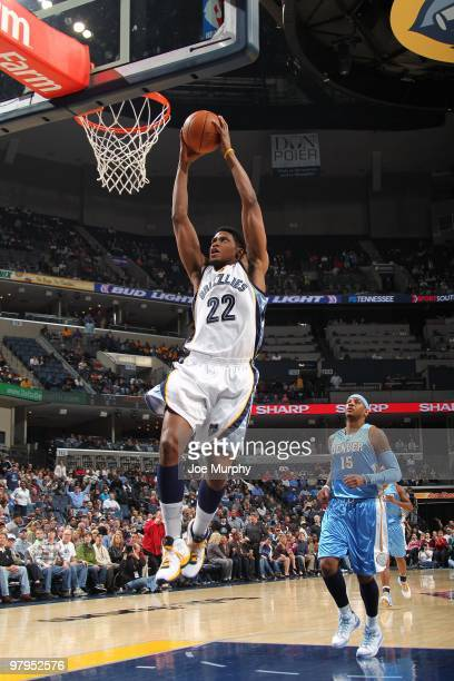 Rudy Gay of the Memphis Grizzlies dunks during the game against the Denver Nuggets at the FedExForum on March 13, 2010 in Memphis, Tennessee. The...
