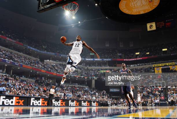 Rudy Gay of the Memphis Grizzlies dunks in a game against the Atlanta Hawks on October 27, 2010 at the FedExForum in Memphis, Tennessee. NOTE TO...