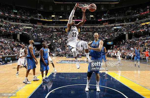 Rudy Gay of the Memphis Grizzlies dunks of Yi Jianlian of the Dallas Mavericks on February 29 2012 at FedExForum in Memphis Tennessee NOTE TO USER...