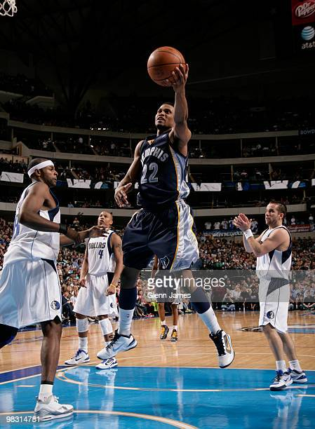 Rudy Gay of the Memphis Grizzlies gets into the lane for the layup against Brendan Haywood of the Dallas Mavericks during a game at the American...