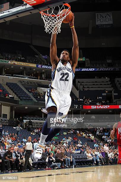 Rudy Gay of the Memphis Grizzlies goes to the basket against the New Jersey Nets during the game on March 8 2010 at FedExForum in Memphis Tennessee...