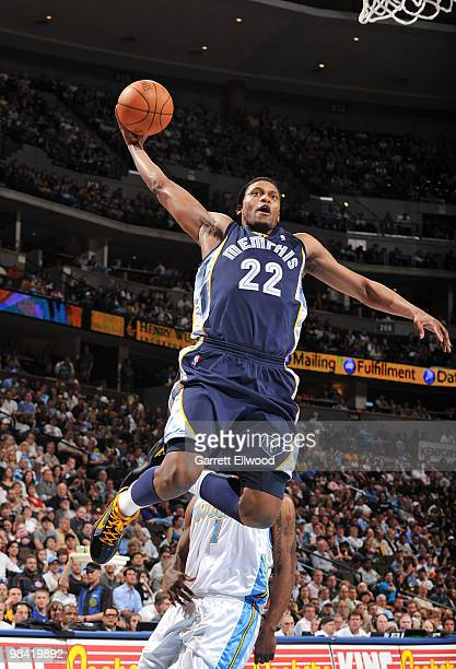 Rudy Gay of the Memphis Grizzlies goes to the basket against the Denver Nuggets on April 12, 2010 at the Pepsi Center in Denver, Colorado. NOTE TO...