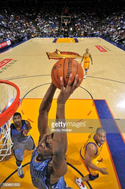 Rudy Gay of the Memphis Grizzlies goes to the basket during the game against the Golden State Warriors at Oracle Arena on March 24, 2010 in Oakland,...