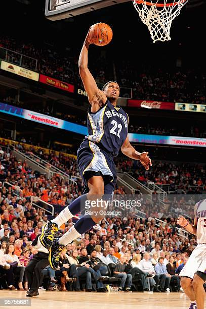Rudy Gay of the Memphis Grizzlies goes to the basket during the game against the Phoenix Suns on January 2 2010 at US Airways Center in Phoenix...