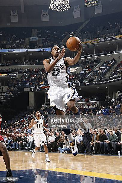 Rudy Gay of the Memphis Grizzlies goes up for the shot during the NBA game against the Cleveland Cavaliers at the FedExForum on January 15, 2008 in...