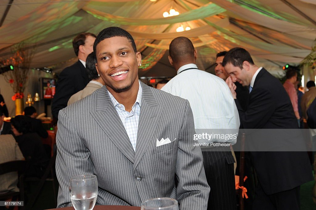 Rudy Gay of the Memphis Grizzlies jokes around prior to the 2008 NBA Draft Lottery at the NBATV Studios on May 20, 2008 in Secaucus, New Jersey.