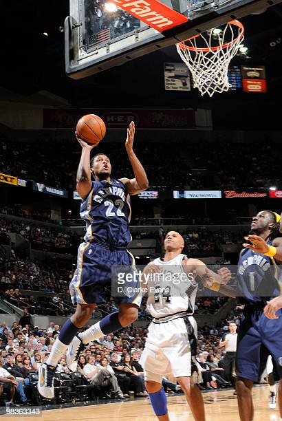 Rudy Gay of the Memphis Grizzlies makes a jump shot against the San Antonio Spurs on April 9, 2010 at the AT&T Center in San Antonio, Texas. NOTE TO...