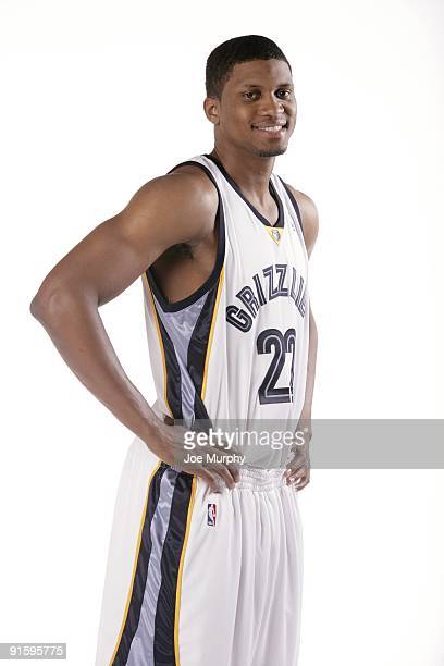Rudy Gay of the Memphis Grizzlies poses for a portrait during NBA Media Day on September 28, 2009 at the FedExForum in Memphis, Tennessee. NOTE TO...