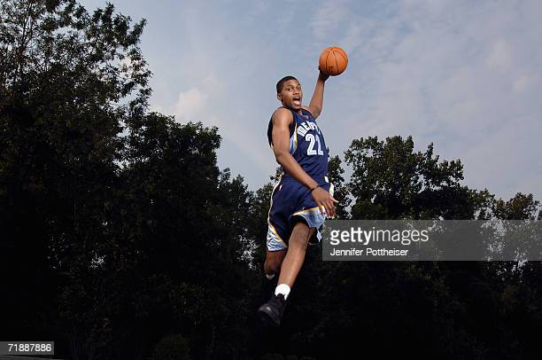Rudy Gay of the Memphis Grizzlies poses for a portrait during the 2006 NBA Rookie Photo Shoot on August 14, 2006 at the MSG Training Facility in...