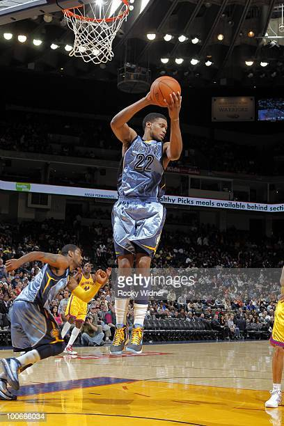 Rudy Gay of the Memphis Grizzlies rebounds during the game against the Golden State Warriors at Oracle Arena on March 24, 2010 in Oakland,...