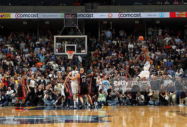 Rudy Gay of the Memphis Grizzlies shoots a game-winning shot over LeBron James of the Miami Heat on November 20, 2010 at FedExForum in Memphis,...