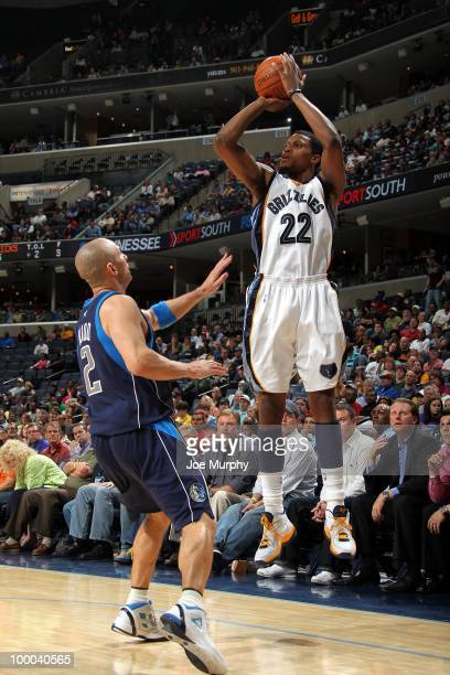Rudy Gay of the Memphis Grizzlies shoots a jump shot against Jason Kidd of the Dallas Mavericks during the game at the FedExForum on March 31, 2010...