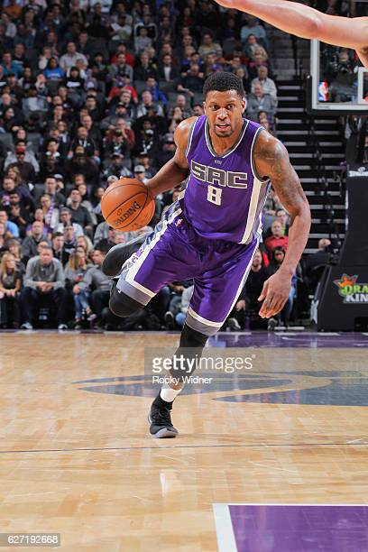 Rudy Gay of the Sacramento Kings brings the ball up the court against the Oklahoma City Thunder on November 23, 2016 at Golden 1 Center in...