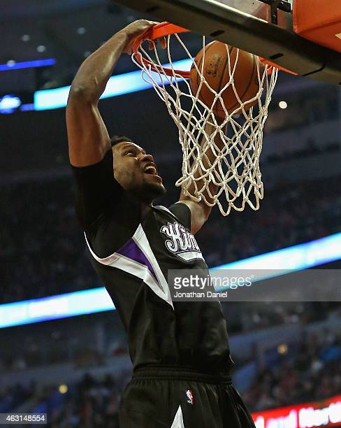 Rudy Gay of the Sacramento Kings dunks against the Chicago Bulls at United Center on February 10, 2015 in Chicago, Illinois. NOTE TO USER: User...