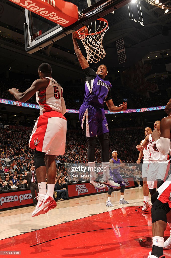 Rudy Gay #8 of the Sacramento Kings dunks against the Toronto Raptors on March 7, 2014 at the Air Canada Centre in Toronto, Ontario, Canada.