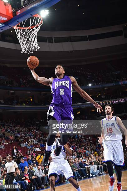 Rudy Gay of the Sacramento Kings goes up for the dunk against the Philadelphia 76ers at Wells Fargo Center on March 13, 2015 in Philadelphia,...