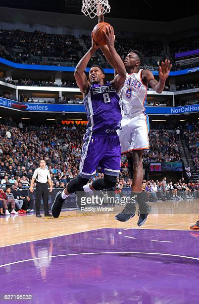 Rudy Gay of the Sacramento Kings goes up for the shot against Jerami Grant of the Oklahoma City Thunder on November 23, 2016 at Golden 1 Center in...