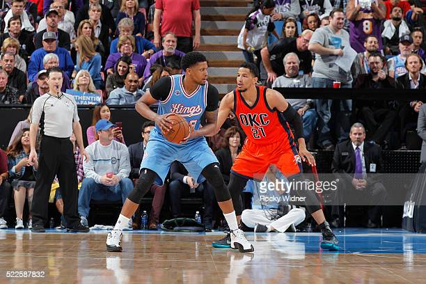 Rudy Gay of the Sacramento Kings handles the ball against Andre Roberson of the Oklahoma City Thunder on April 9 2016 at Sleep Train Arena in...