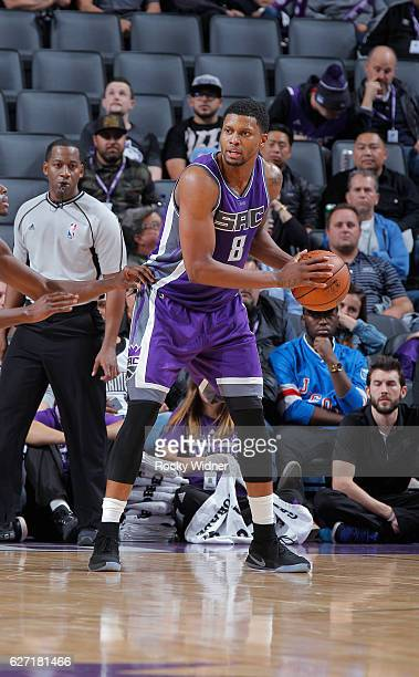 Rudy Gay of the Sacramento Kings handles the ball against the Oklahoma City Thunder on November 23, 2016 at Golden 1 Center in Sacramento,...