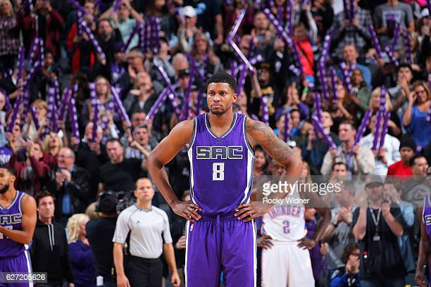 Rudy Gay of the Sacramento Kings looks on during the game against the Oklahoma City Thunder on November 23, 2016 at Golden 1 Center in Sacramento,...