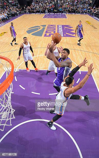 Rudy Gay of the Sacramento Kings puts up a shot against Andre Roberson of the Oklahoma City Thunder on November 23 2016 at Golden 1 Center in...