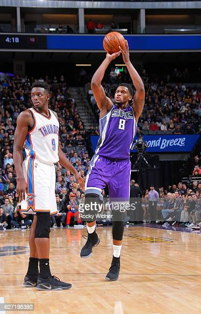 Rudy Gay of the Sacramento Kings puts up a shot against Jerami Grant of the Oklahoma City Thunder on November 23, 2016 at Golden 1 Center in...