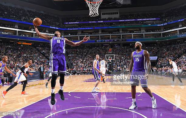 Rudy Gay of the Sacramento Kings rebounds against the Oklahoma City Thunder on November 23, 2016 at Golden 1 Center in Sacramento, California. NOTE...