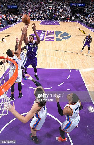 Rudy Gay of the Sacramento Kings shoots against the Oklahoma City Thunder on November 23, 2016 at Golden 1 Center in Sacramento, California. NOTE TO...