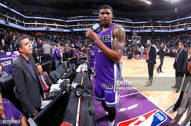 Rudy Gay of the Sacramento Kings speaks with media after defeating the Oklahoma City Thunder on November 23, 2016 at Golden 1 Center in Sacramento,...