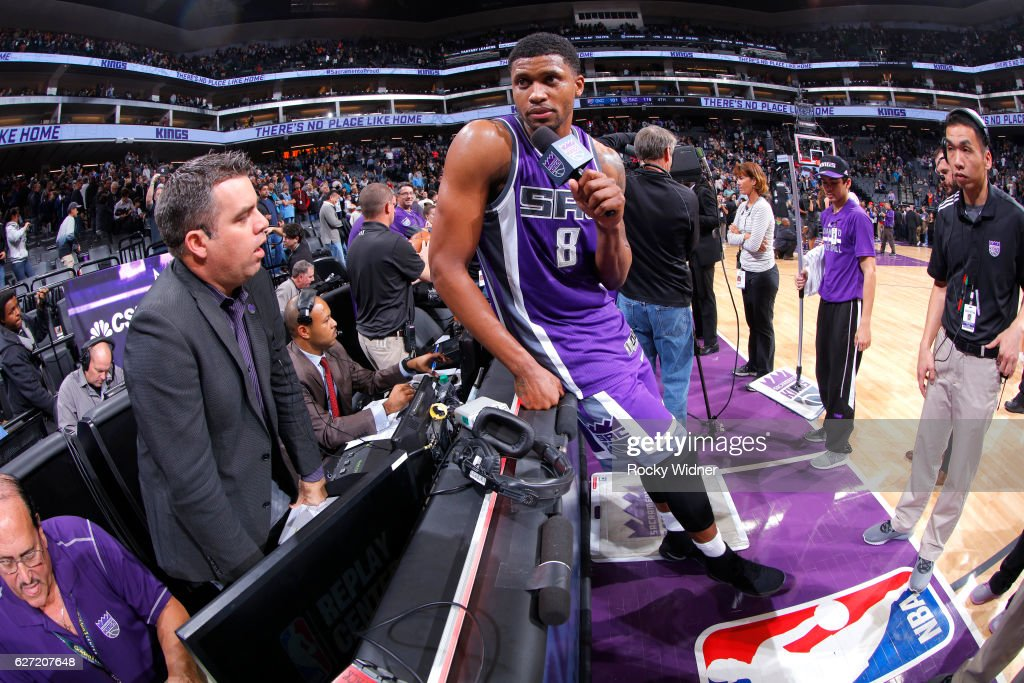 Rudy Gay #8 of the Sacramento Kings speaks with media after defeating the Oklahoma City Thunder on November 23, 2016 at Golden 1 Center in Sacramento, California.