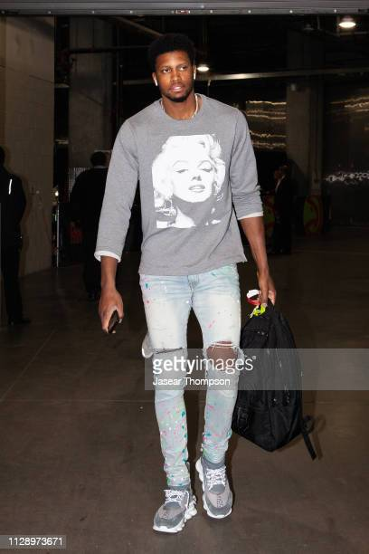 Rudy Gay of the San Antonio Spurs arrives to the arena prior to the game against the Atlanta Hawks on March 6 2019 at State Farm Arena in Atlanta...