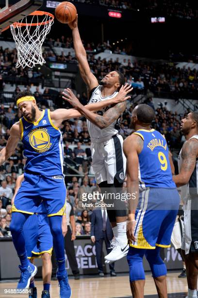 Rudy Gay of the San Antonio Spurs dunks the ball against the Golden State Warriors during Game Three of the Western Conference Quarterfinals in the...
