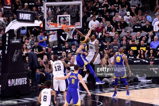 Rudy Gay of the San Antonio Spurs dunks the ball against the Golden State Warriors in Game Three of Round One of the 2018 NBA Playoffs on April 19...