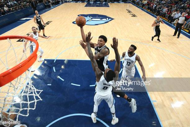 Rudy Gay of the San Antonio Spurs goes to the basket against the Memphis Grizzlies on December 1 2017 at FedExForum in Memphis Tennessee NOTE TO USER...