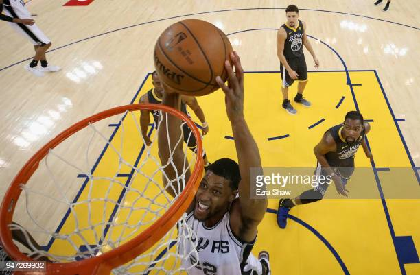 Rudy Gay of the San Antonio Spurs goes up for a dunk against the Golden State Warriors during Game 2 of Round 1 of the 2018 NBA Playoffs at ORACLE...