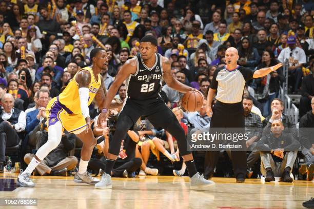 Rudy Gay of the San Antonio Spurs handles the ball against Kentavious CaldwellPope of the Los Angeles Lakers on October 22 2018 at STAPLES Center in...