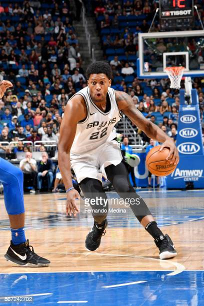 Rudy Gay of the San Antonio Spurs handles the ball against the Orlando Magic on October 27 2017 at Amway Center in Orlando Florida NOTE TO USER User...