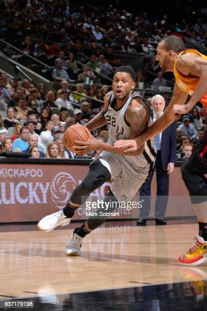Rudy Gay of the San Antonio Spurs handles the ball against the Utah Jazz on March 23 2018 at the ATT Center in San Antonio Texas NOTE TO USER User...