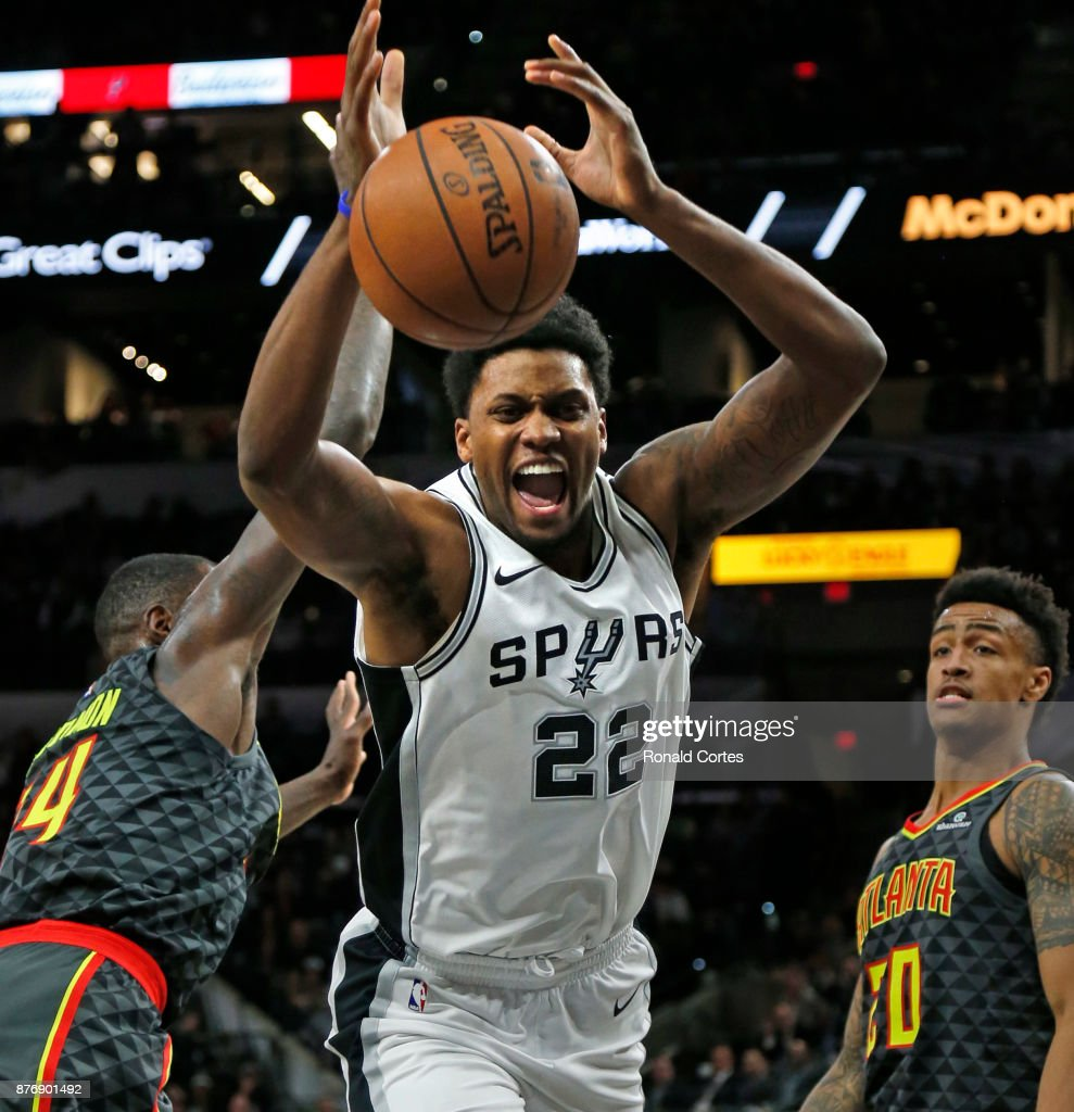 Rudy Gay #22 of the San Antonio Spurs loses control of the ball against the Atlanta Hawks at AT&T Center on November 20, 2017 in San Antonio, Texas.