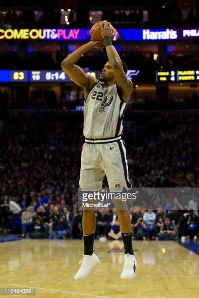 Rudy Gay of the San Antonio Spurs shoots the ball against the Philadelphia 76ers at the Wells Fargo Center on January 23 2019 in Philadelphia...