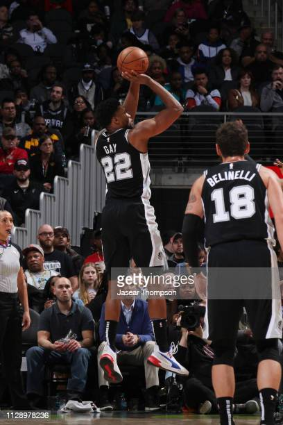 Rudy Gay of the San Antonio Spurs shoots the ball against the Atlanta Hawks on March 6 2019 at State Farm Arena in Atlanta Georgia NOTE TO USER User...