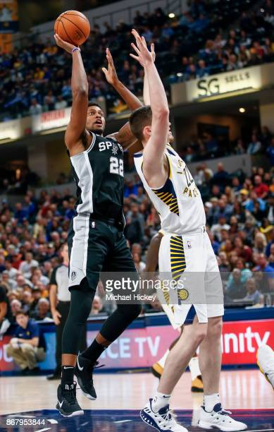Rudy Gay of the San Antonio Spurs shoots the ball against TJ Leaf of the Indiana Pacers at Bankers Life Fieldhouse on October 29 2017 in Indianapolis...