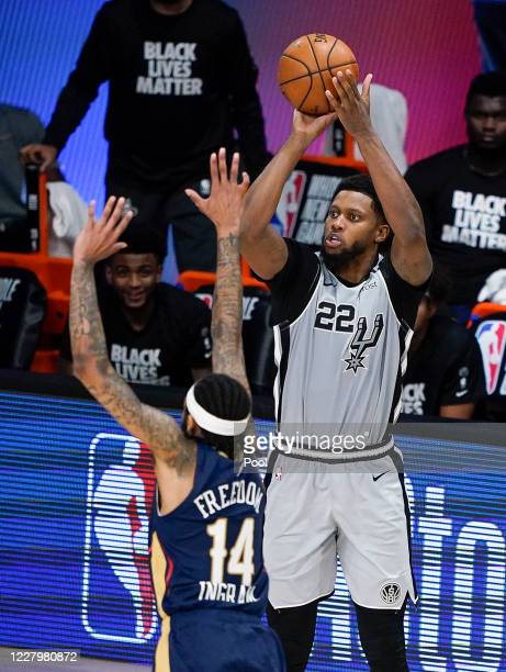 Rudy Gay of the San Antonio Spurs takes a shot over Brandon Ingram of the New Orleans Pelicans during the second half at HP Field House at ESPN Wide...