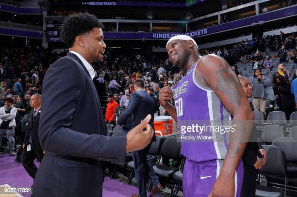 Rudy Gay of the San Antonio Spurs talks with Zach Randolph of the Sacramento Kings after the game on January 8 2018 at Golden 1 Center in Sacramento...