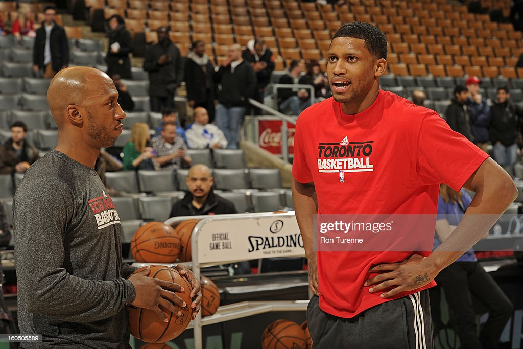 Rudy Gay #22 of the Toronto Raptors and Chauncey Billups #1 of the Los Angeles Clippers talk before the game on February 1, 2013 at the Air Canada Centre in Toronto, Ontario, Canada.